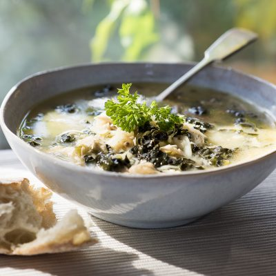 Lemon, Chicken and Kale soup
