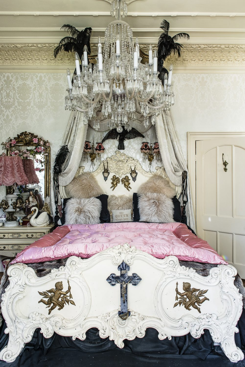 The master bedroom is a gorgeously glittering boudoir of a room, which Kim refers to as 'my own mini-Versailles'
