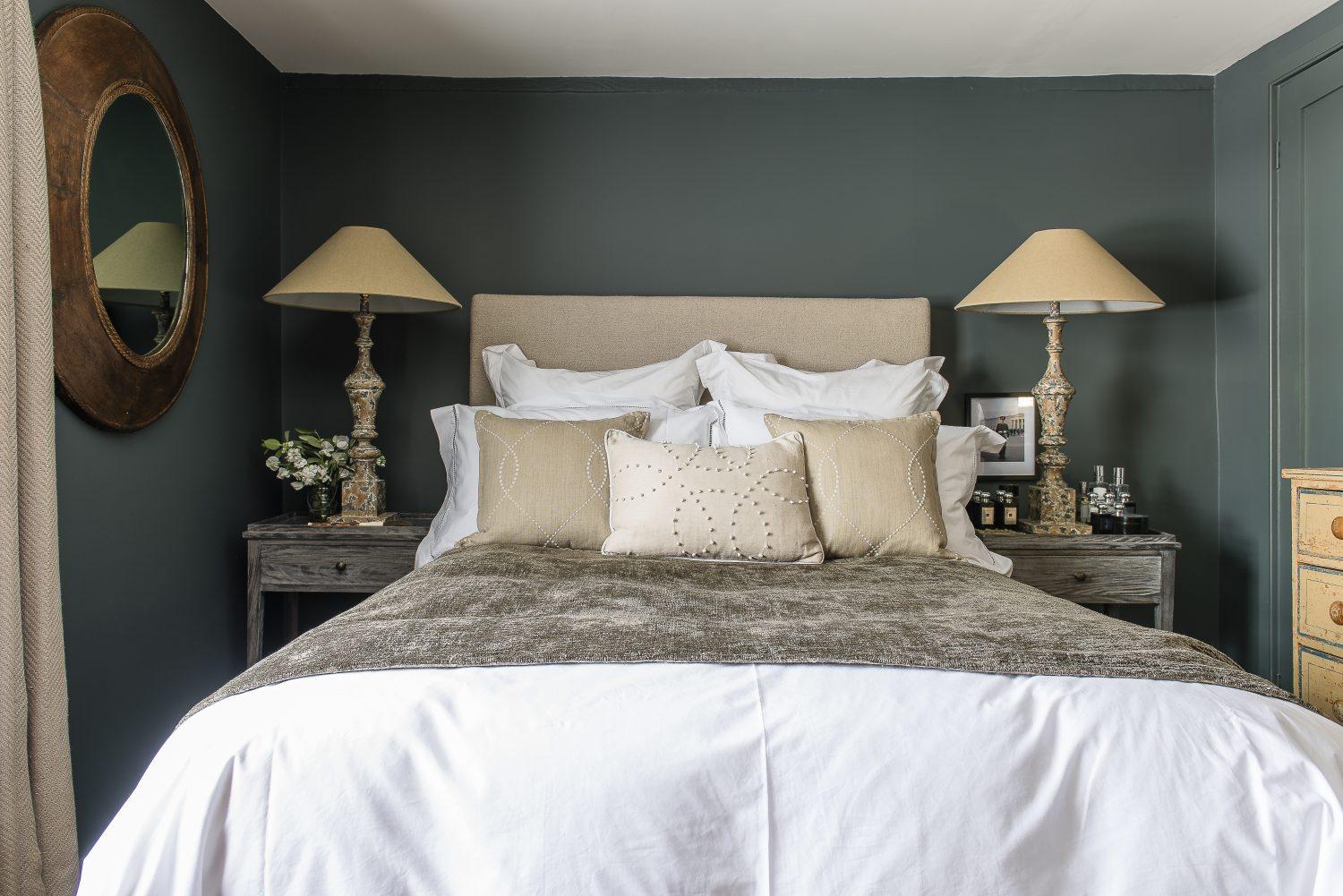 The master bedroom is the only room in the house where Lisa used a different paint colour – Squid Ink by Paint and Paper Library