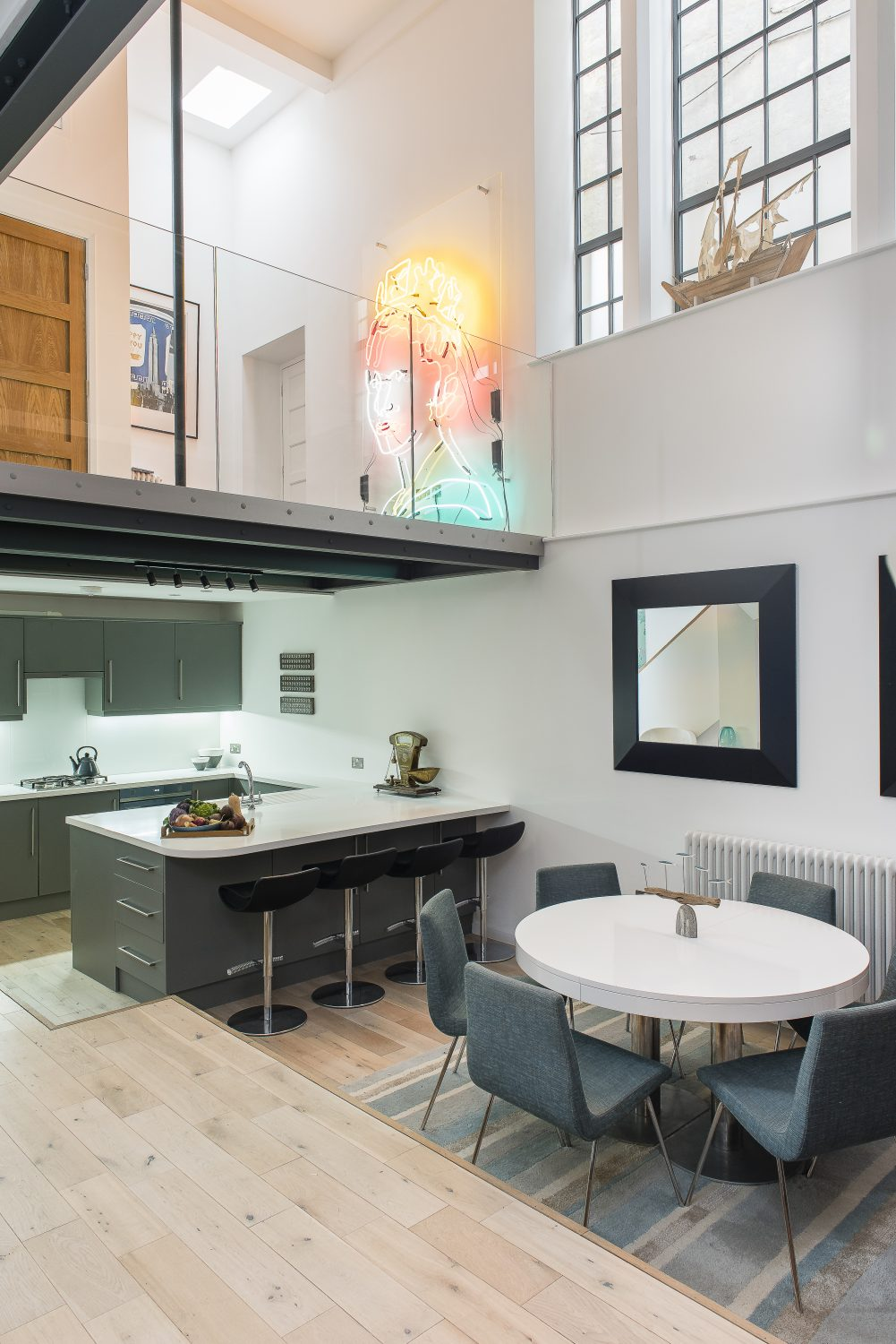 The kitchen, by Alpine Joinery, is at one end of the ground floor living area