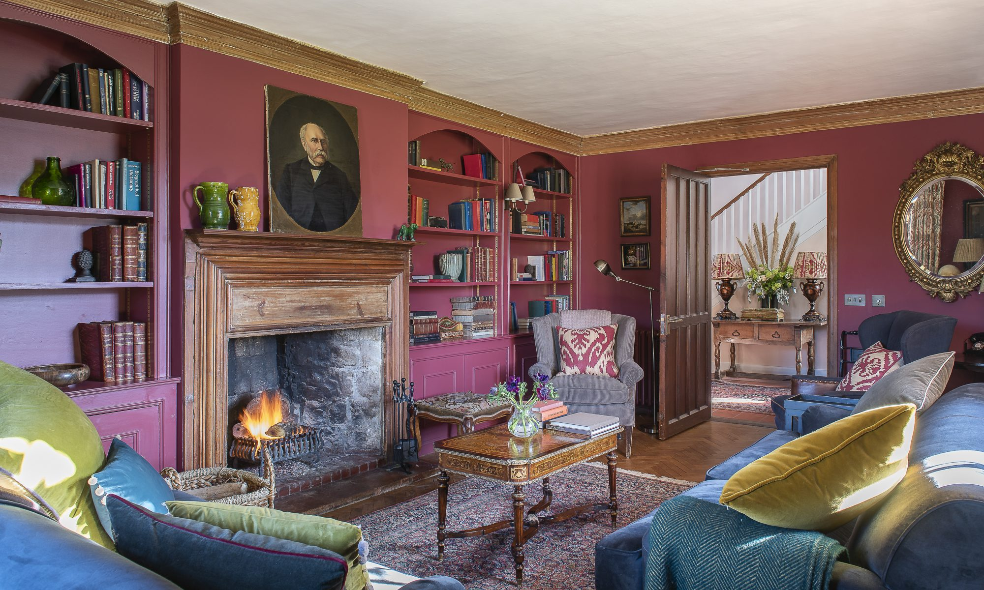 The walls in the drawing room are painted in Bone by Farrow & Ball
