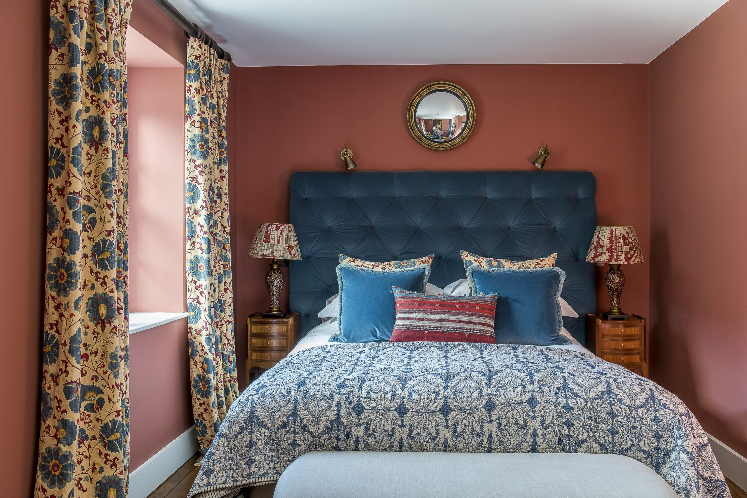 The curtains in the Myrtle bedroom are Zarafshan by Lewis & Wood