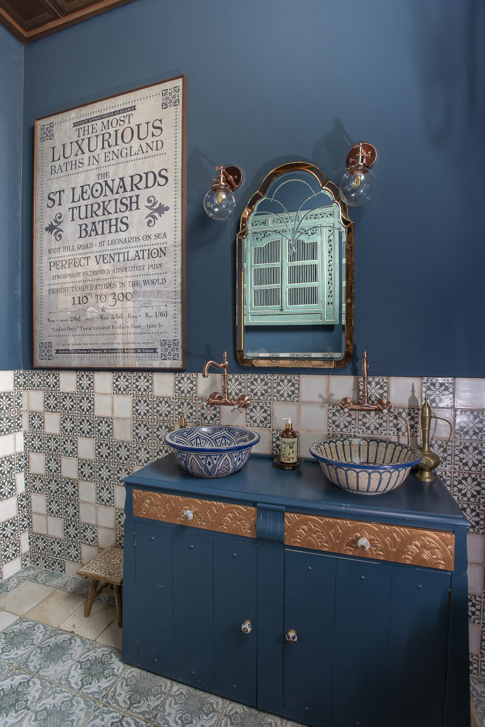 Laurie sourced the copper bath in the Turkish-bath inspired guest bathroom directly from the makers in Morocco