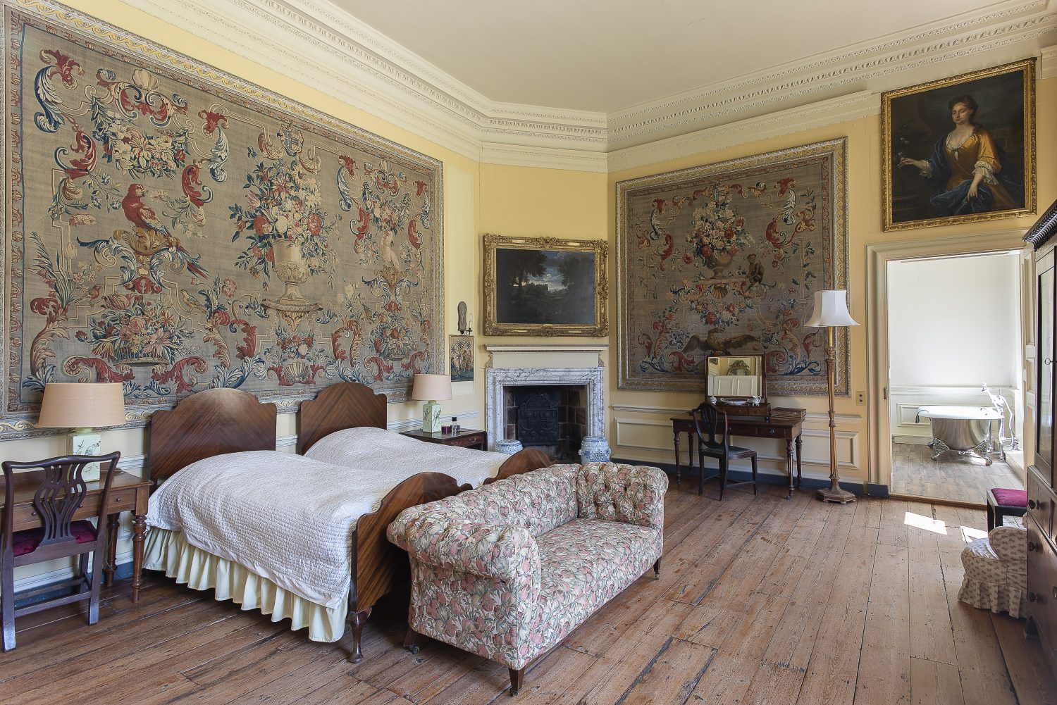 Two splendid tapestries, which hang in the bedroom over the dining room, were commissioned by the wife of John Warde, who bought the house in 1731