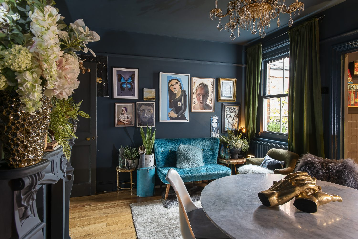 The majority of the furniture and lighting in Jaz's home are vintage finds, but the new pieces she has chosen are of very good quality. A bright blue velvet-covered sofa on the opposite side of the dining room is by Designers Guild