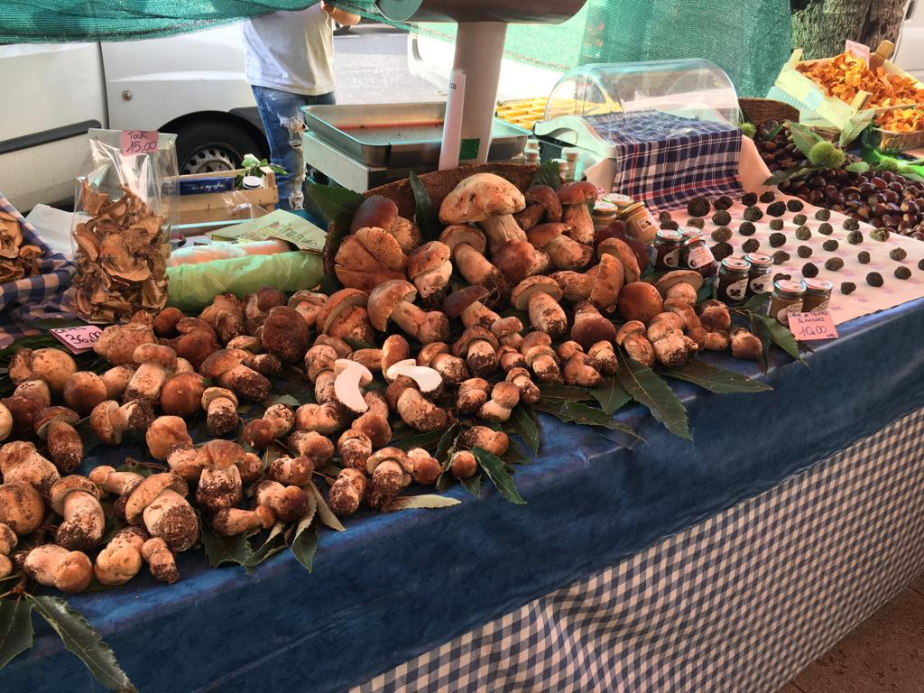 Cep and truffles at Menton market. Photo taken by Caroline Brennan