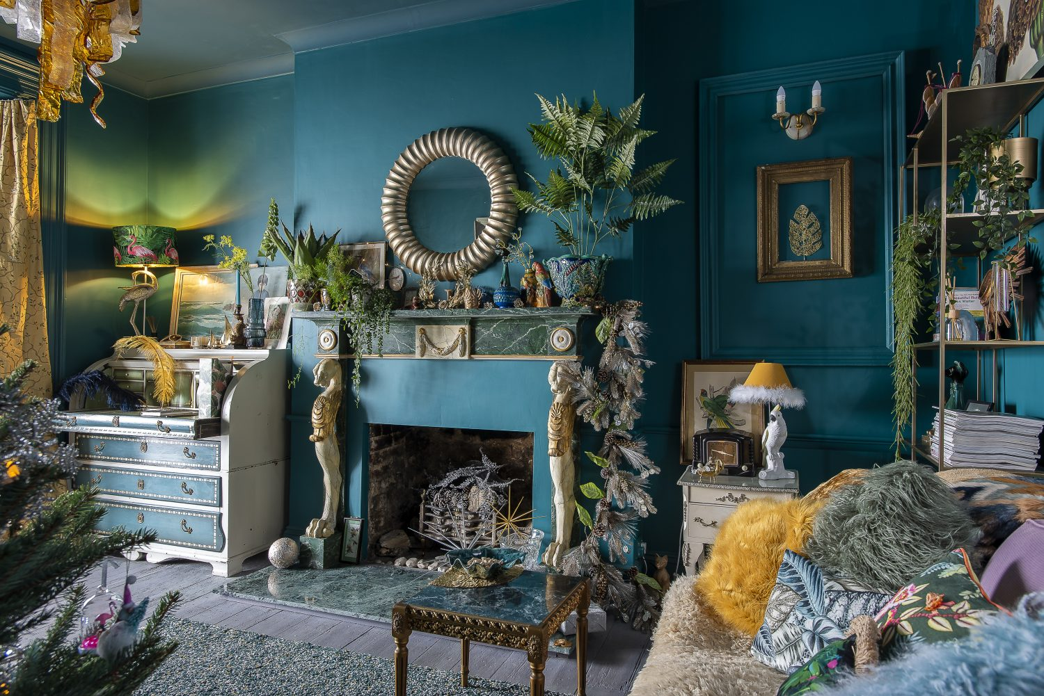 Kimberley chose a rich teal from Papers and Paints for the walls and ceiling of the sitting room. She found the painted wood mantelpiece on eBay