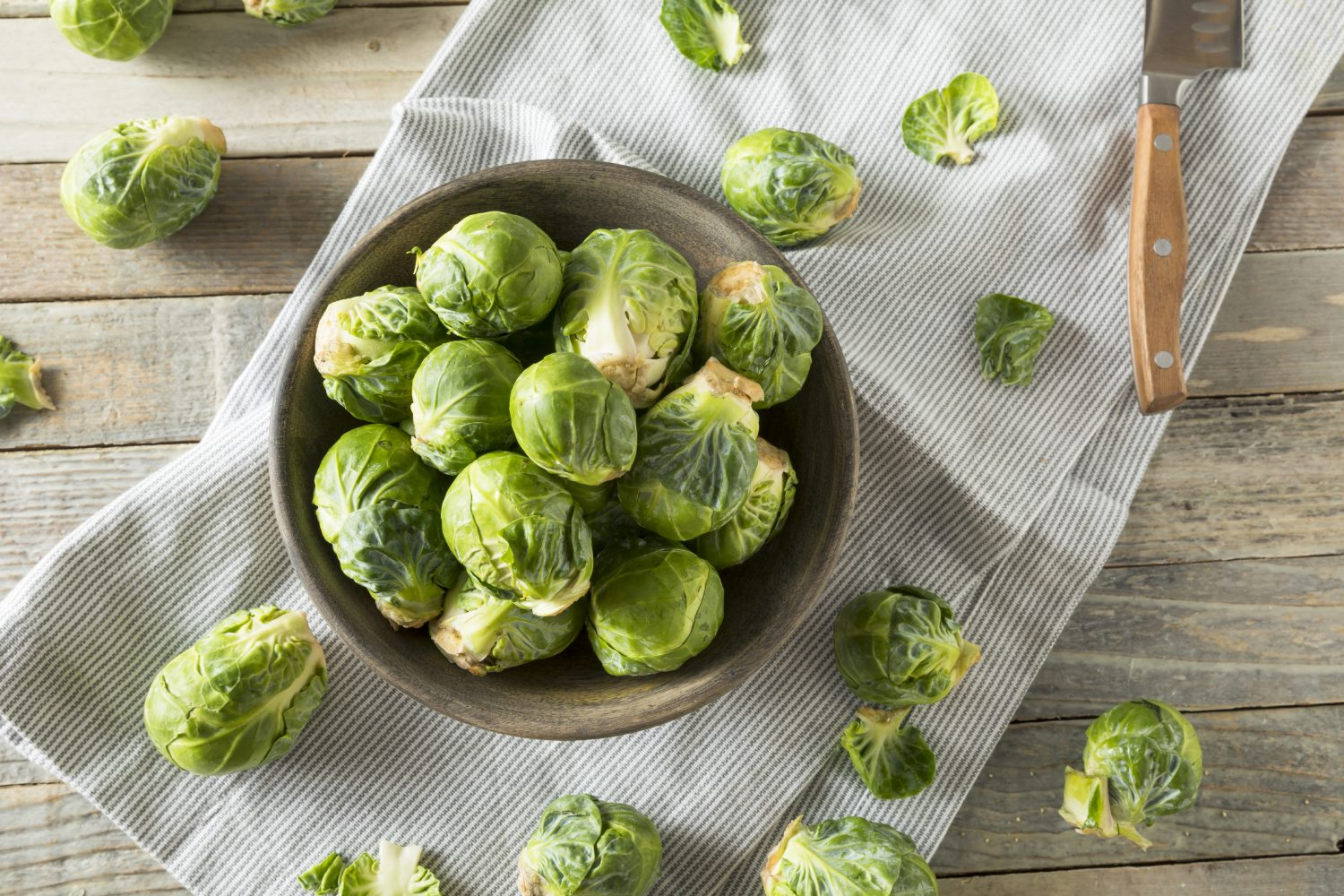 Raw Organic Green Brussel Sprouts Ready to Cook