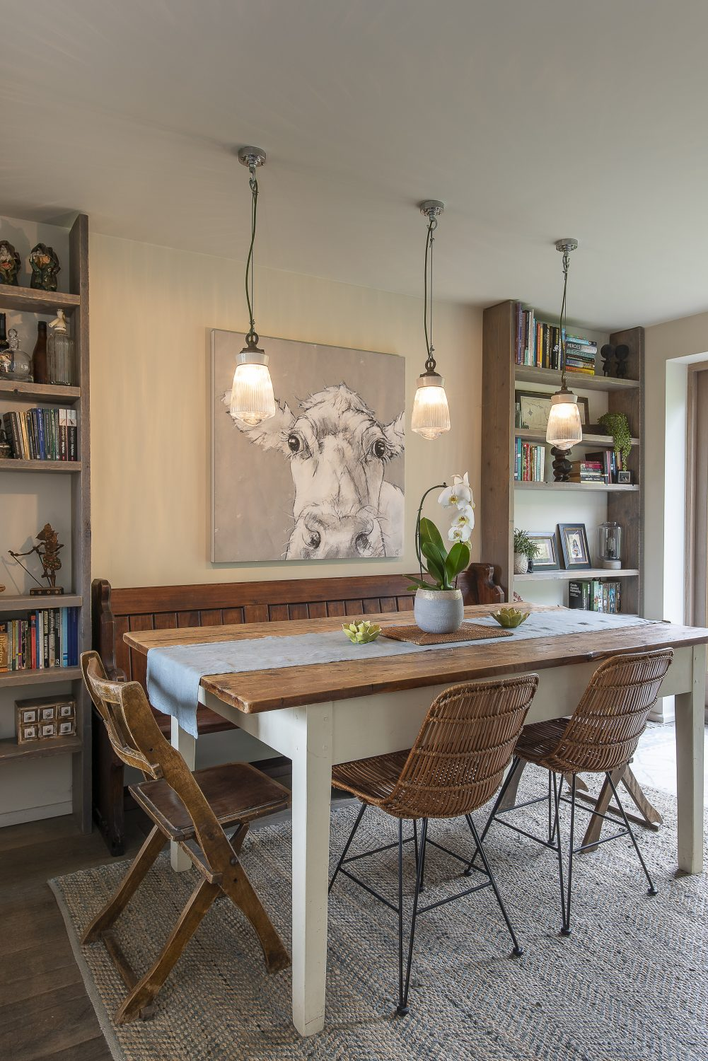 What was once the garage space was further opened up to create a spacious dining area