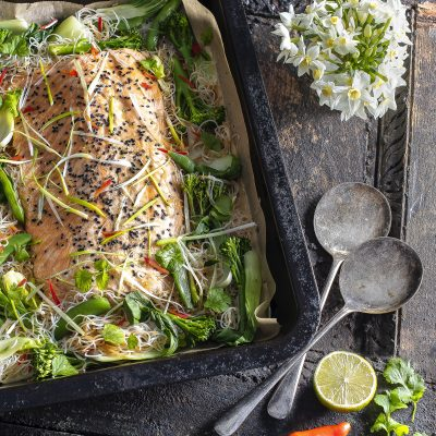 Teriyaki Salmon, Noodle & Vegetable Traybake