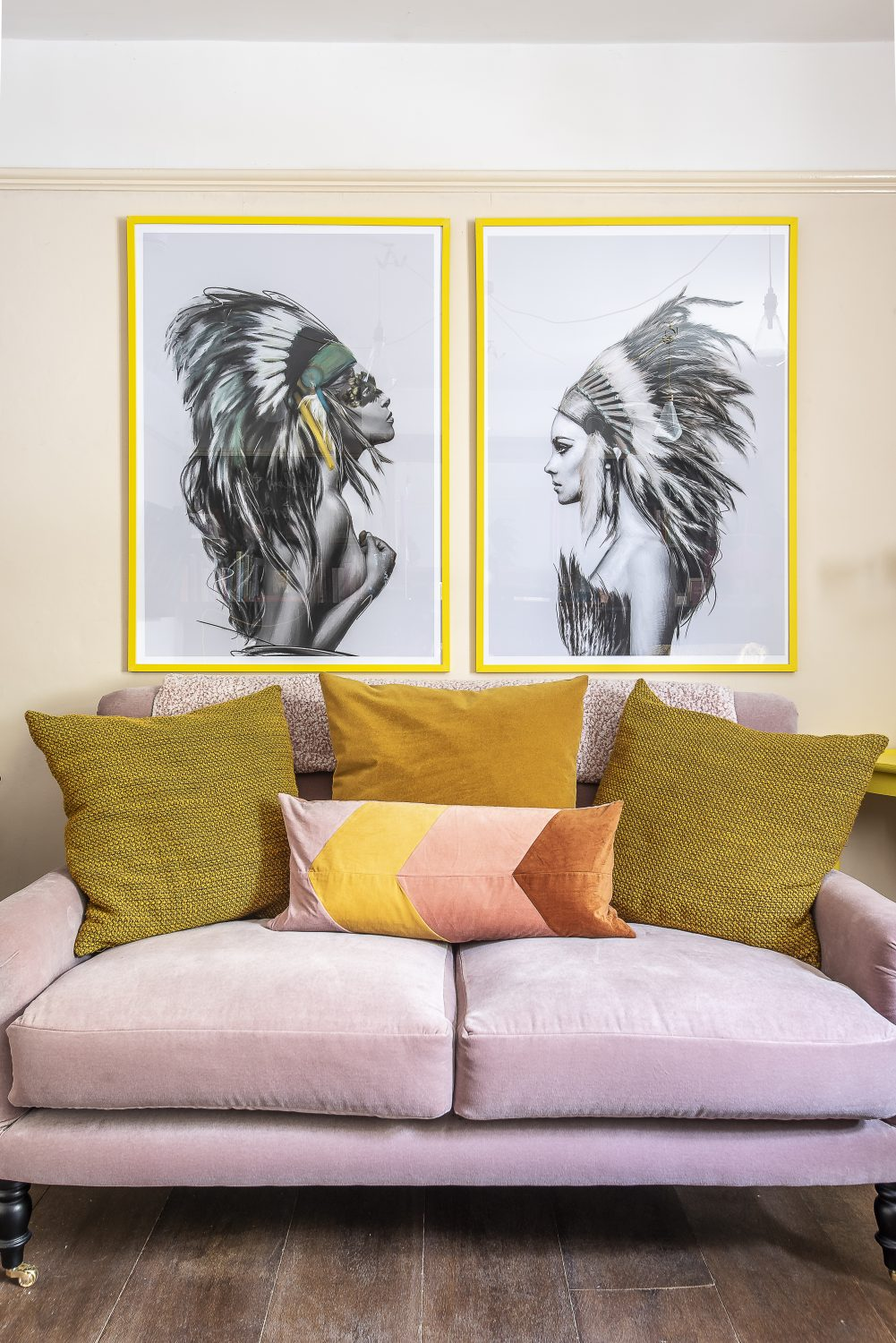 Dusky pinks and vibrant yellows are an eye-pleasing contrast in the sitting room