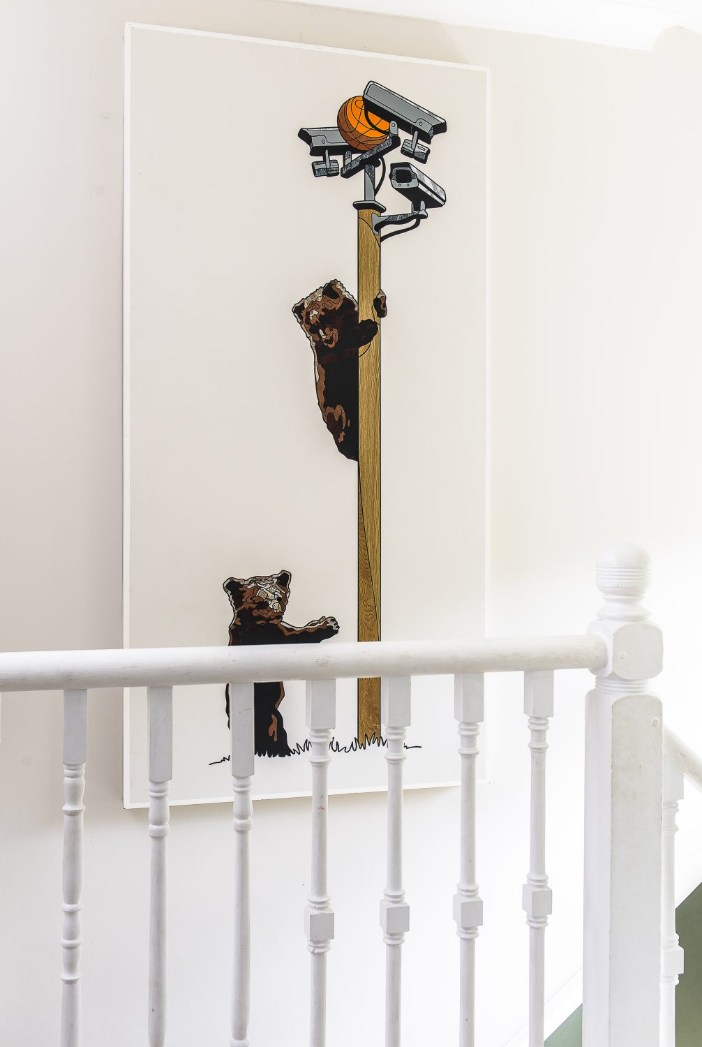 A piece featuring bears and CCTV cameras by mixed media artist Sean Alexander