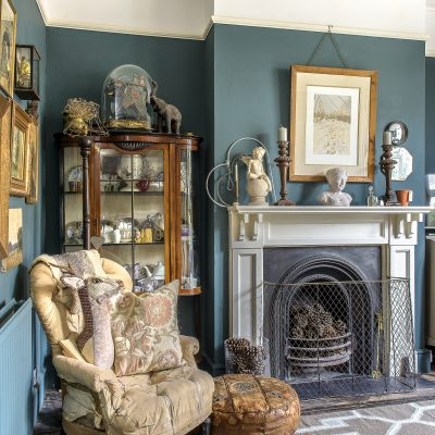 The sitting room has a real parlour feeling, with a glass-fronted bureau