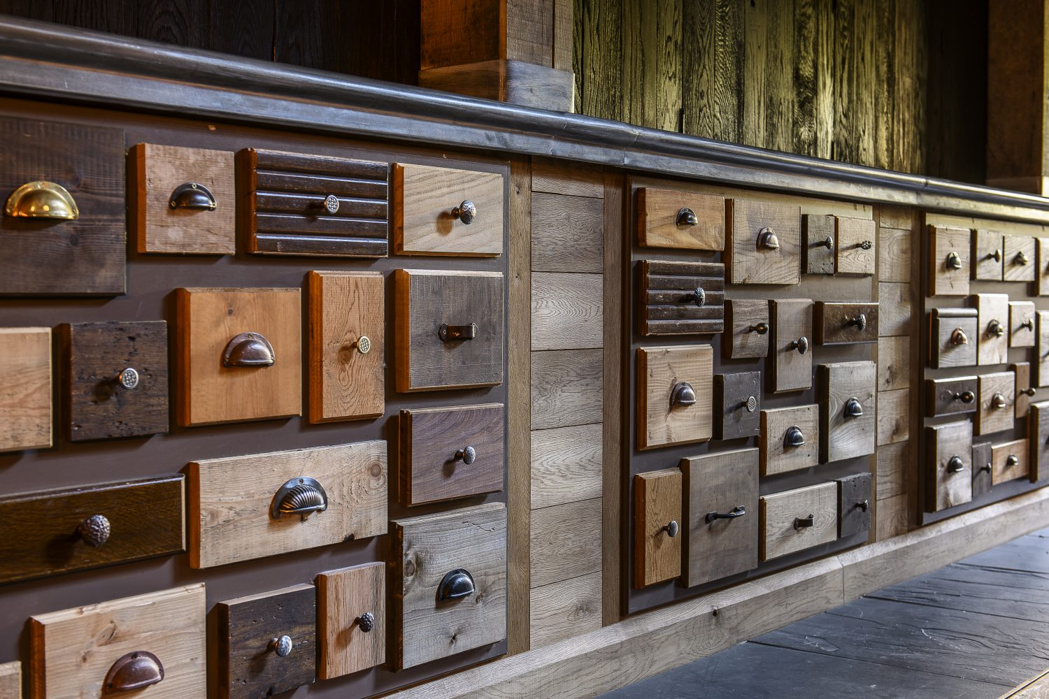 A new bar made out of mismatched drawers will contain little surprises for the curious-minded