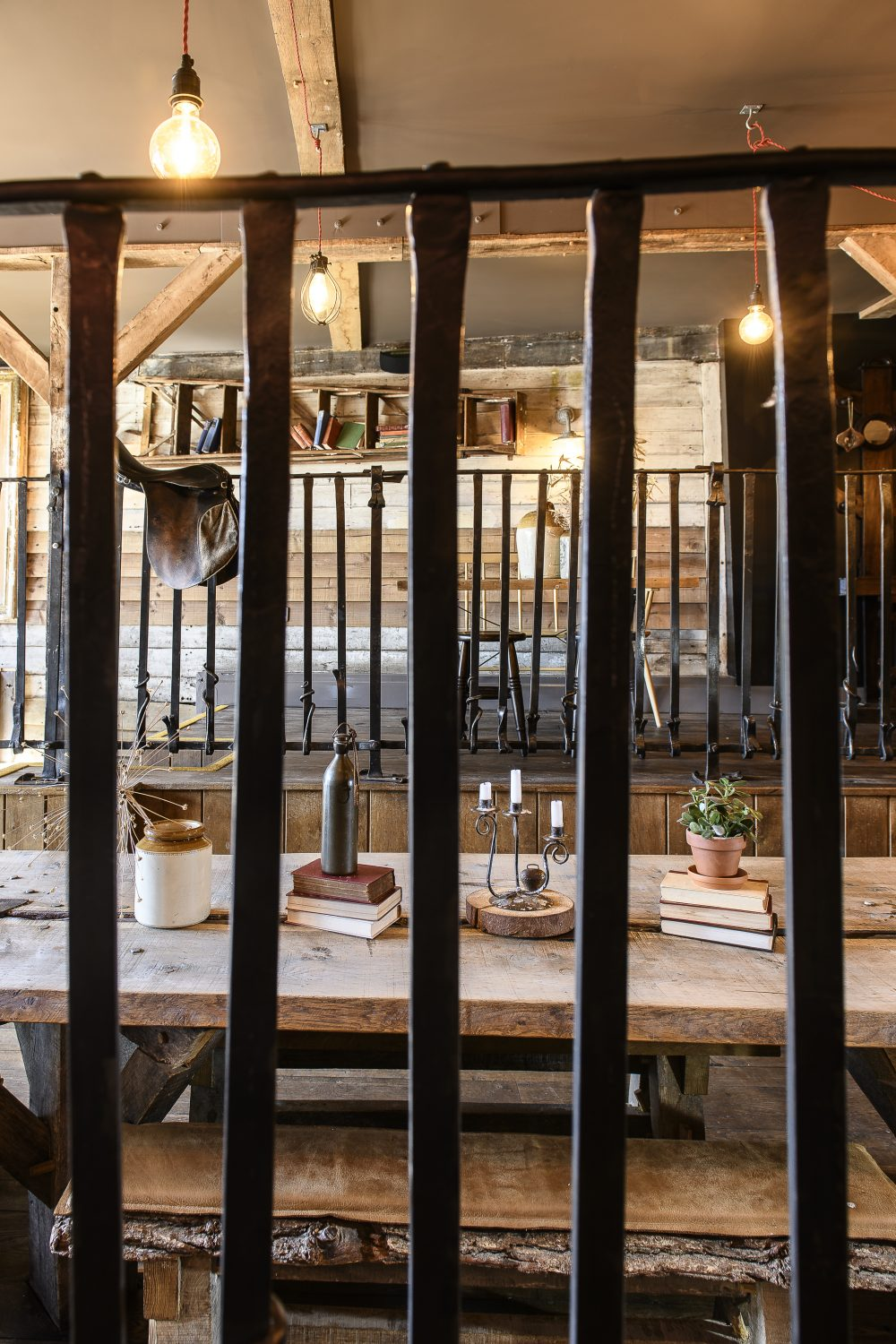 The Stable is The Bell's private dining and creative space, with its signature long split oak table