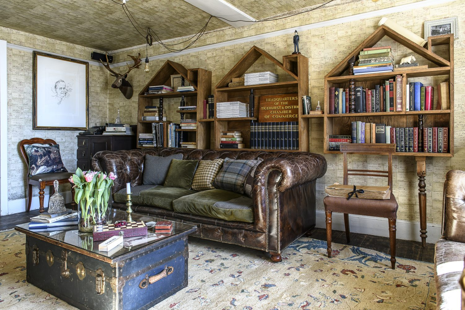 Funny and inventive conversation-piece design has been employed throughout The Bell to great effect like in this cosy area designed for relaxation. Upcycled and repurposed elements can be seen within both its public and its more private spaces