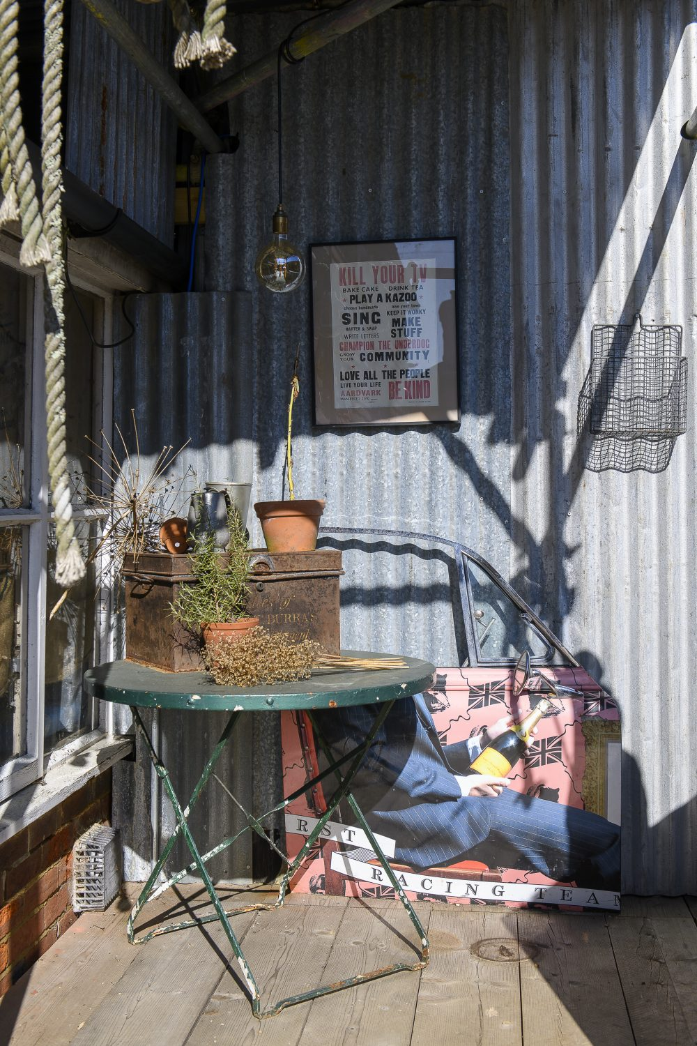 There's always something to catch the eye, the homely and welcoming theme continues outside with interesting displays of vintage objects and carefully considered artworks